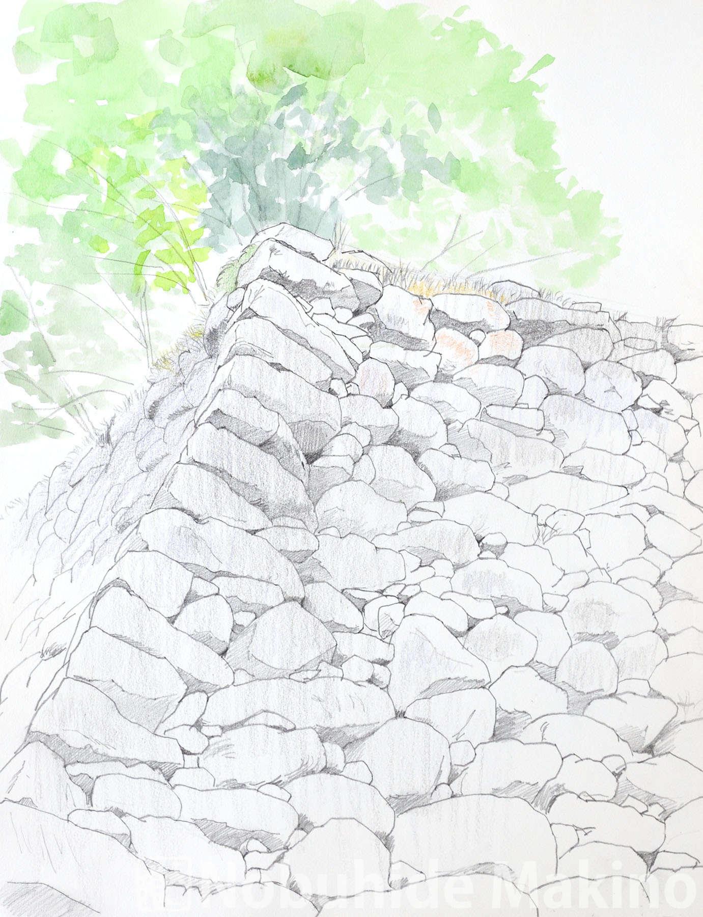 懐古園天守台(素描)